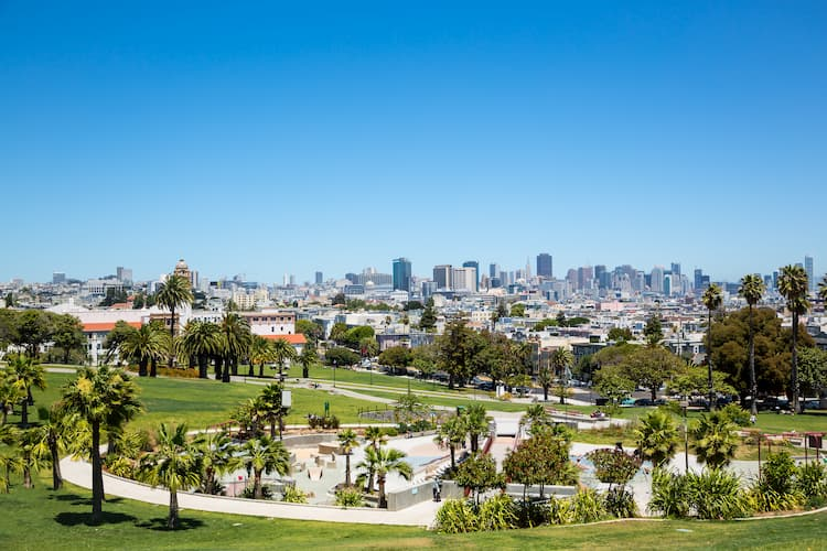 the san francisco sky line from mission dolores park
