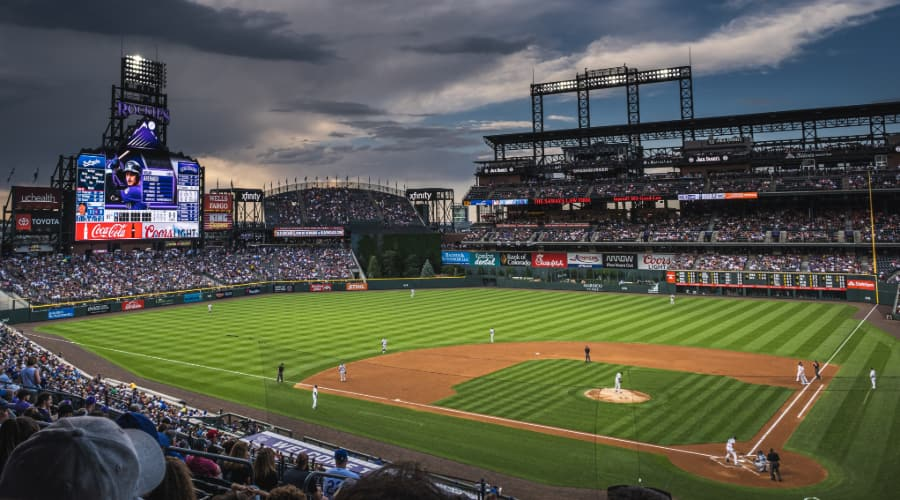 view across Coors Field in Denver during a game