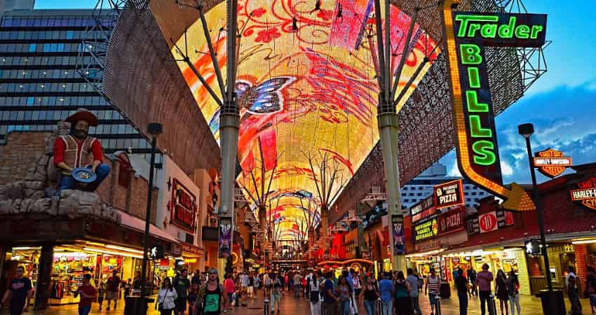 The entrance of the Fremont Street Experience in the evening