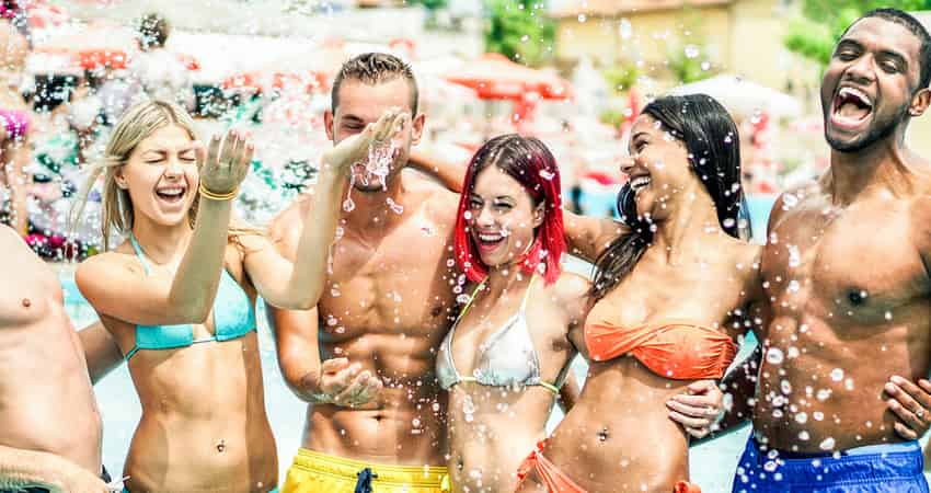 A group of young people partying at a Las Vegas hotel pool