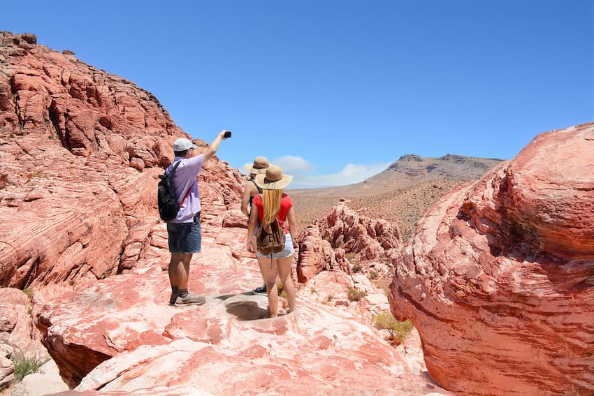 hikers enjoy stunning views at red rock canyon