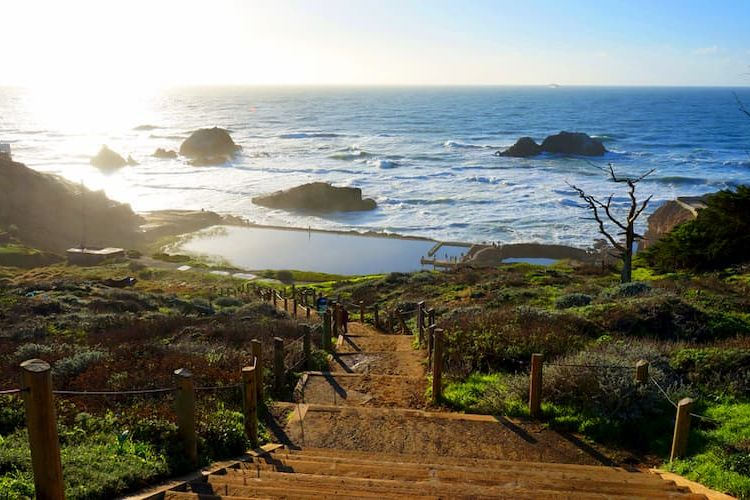 Steps leading down to Sutro Baths ruins