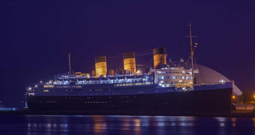 The Queen Mary in the evening