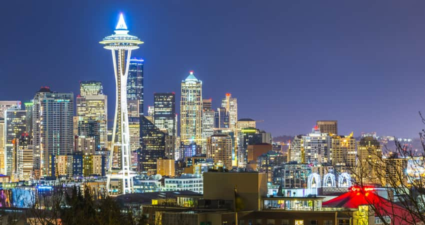 The Space Needle in Seattle illuminated at night