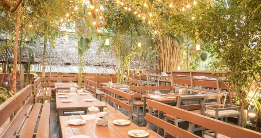 A beautiful sunny courtyard patio restaurant