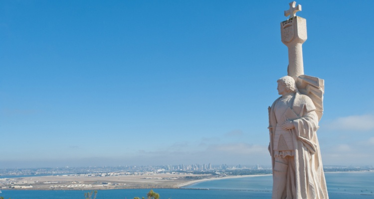 carbillo national monument at point loma san diego champion charter bus